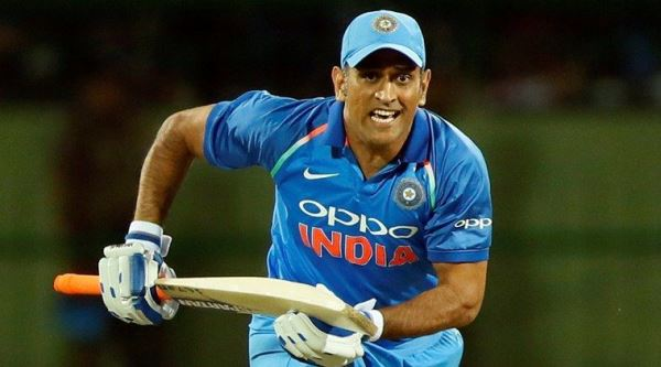 Dhoni using different bat logos as a goodwill gesture