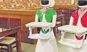 Robots to serve food at a restaurant in Kannur, Kerala